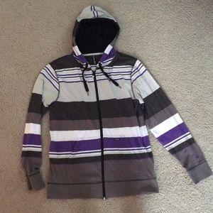 White, Purple, and Grey Zip-Up Hoodie